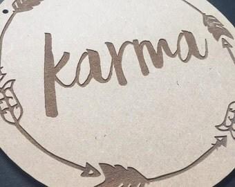 Karma Door Sign Decor Wall Hanging Gift Boho Door Sign Bedroom Decor