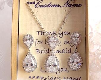 Bridesmaids Jewelry Set, Wedding Necklace, Bridal Jewelry set, CZ Teardrop Pendant Necklace, Bridesmaids Jewelry Set