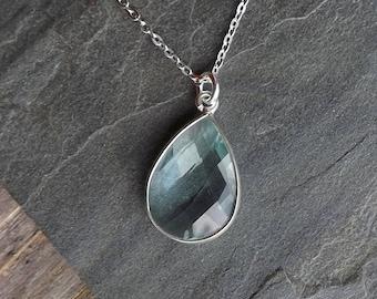 Aqua Quartz pale blue necklace / Sterling silver Aqua Quartz necklace / Faceted blue gemstone necklace