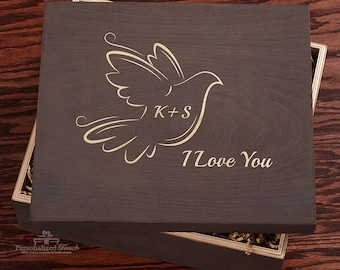 Lovey Dovey Handcrafted Wooden Gift Box - Perfect Gift for Her - Romantic Anniversary or Wedding Gift