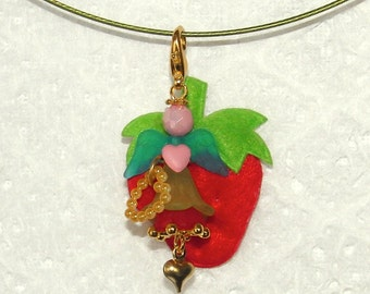 """Magical pendant """"STRAWBERRY IN LOVE"""" - you gotta love these charming luck with Strawberry!"""