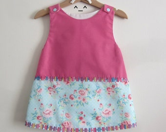 "Dress child ""vintage"" pink and blue 12/18 months."