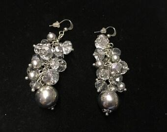 Vintage Pierced Earings, Silvertone, Crystal Like