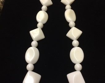 Vintage Beaded Necklace, White Costume
