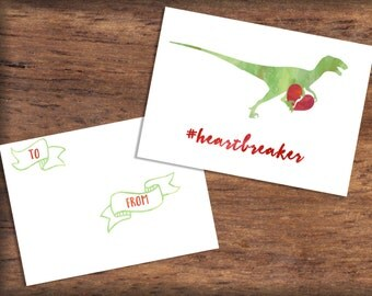 Printable Velociraptor Valentine's Day Card- INSTANT DOWNLOAD, Watercolor Dinosaur Valentine Print, Heartbreaker