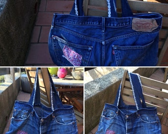 blue denim bag with white lace lévis