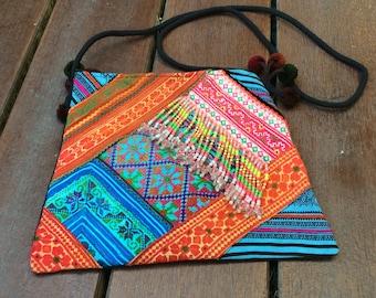 Trapezoid Hmong Hilltribe Crossbody Bag, Vintage Bag, Bead Hmong Bag, Patchwork bag, Hand Embroidered Bag