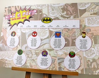 Superhero wedding table plan with 12 A5 double sided Table Name Cards