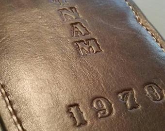 Large custom leather knife sheath stamped w/ USN VIETNAM 1970
