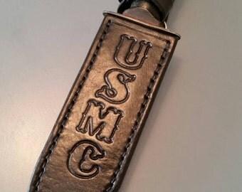 Ready to ship! Custom leather knife sheath. Ka Bar fighting knife. USMC.