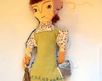 OOAK Fabric Art doll/ Cleaner Lady