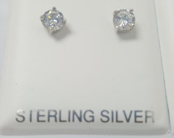 Round CZ Earrings Platinum Plated