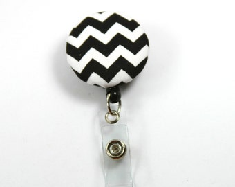 BLACK AND WHITE Badge Reel, Button Badge Reel, Fabric Badge Reel, Retractable Badge Reel