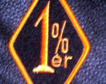 Biker's One Percent Patch in Harley colors Black & Orange