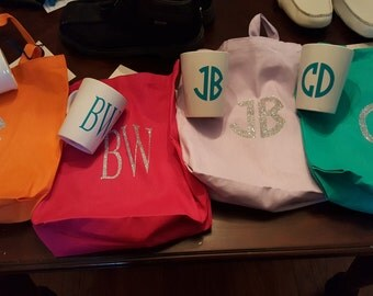 monogram tote and matching cup