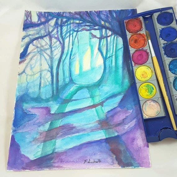 Enchanted landscape, fantasy style, original watercolor on paper by Francesca Licchelli, modern furnishing complement, boys, girls gift idea