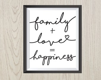 Family Love Happiness Digital Print, Monochrome black on white, Inspirational quote, 8x4 inch