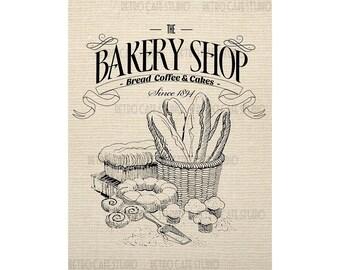 Digital Download Vintage Bakery Sign Illustration Transfer Clip Art; 1036