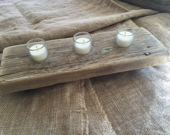 Handcrafted reclaimed wood candle holder