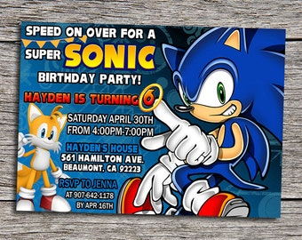 Sonic Birthday Party Invitation - Digital Printable Personalized 7x5 Sonic The Hedgehog Invite - DIY Sega Birthday Invitation - Hedgehog