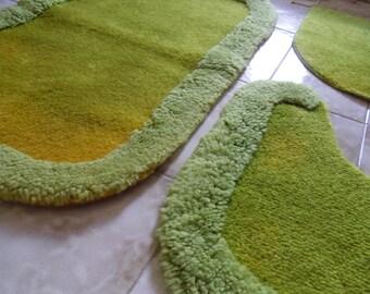Rug for bathroom - Green rug - Vintage rug -  No-slip  green rug