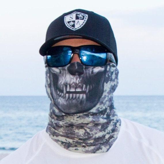 Multi use face shieldgrey digital skull for Sa fishing face shield review