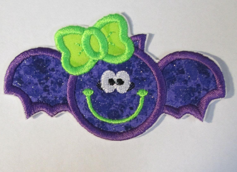 Ready to ship in 1 3 business days halloween vampire bat - Applique neon design ...