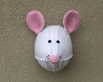 Mouse / Felt animal head / wall decor / baby room /  nursery decor / stuffed animals