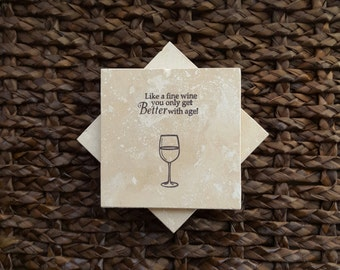 Marble Coasters - Wine Design - Hand Stamped - Tumbled Marble - Absorbent Tile - Set of Four - Assorted Designs