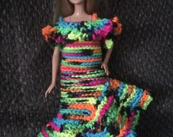 Crocheted Barbie doll dress flamenco style