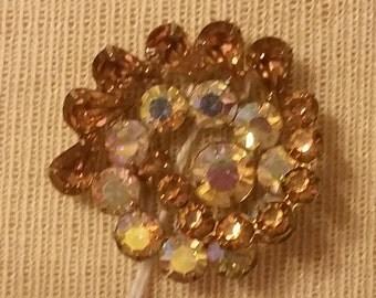 Weiss, Set, Brooch, Earrings, Rhinestones,  Costume Jewelry