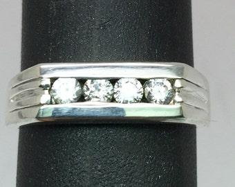14k White Sapphire Men's Ring, FREE SIZING