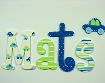 Hand painted colorful wooden letters; kids name; baby name; wall letters, letters of wood; kids room decoration; cars, polka dots, stripes