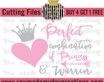 Buy 4 get 1 FREE***  Perfect Combination of Princess and Warrior Heart Crown Arrow SVG, PNG, dxf, & eps Cutting Files