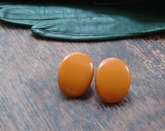 Vintage Butterscotch Celluloid Clip Back Earrings