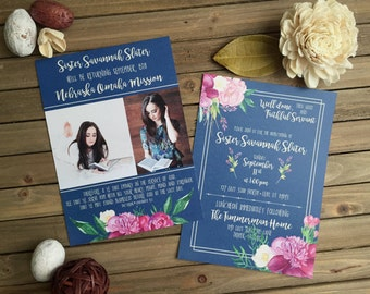 LDS Mission Homecoming - Blue with Purple Floral Invite - Mission Homecoming Invitation - Party Invitation