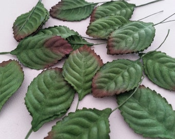 Free shipping!!!  50, 100 Mulberry Paper Leaf Rose Leaves green brush brown with wire stem , flower leaf, fabric craft, craft leave