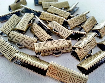 20,50,100 pcs. RIBBON Clamps antique bronze 16 mm.