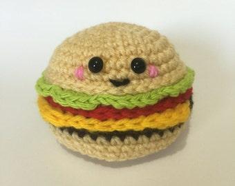 Cheeseburger Crochet Pattern, hamburger, amigurumi,