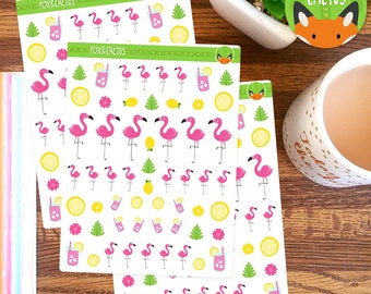 Flamingos - Pink Lemonade Flamingo Bird Summer - Planner Stickers