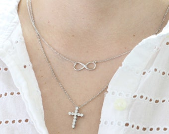 Diamond Infinity Necklace in 14K Gold, Infinity Charm, Anniversary Gift, Everyday Necklace, Graduation Gift, Maid of Honor Gift, Friendship