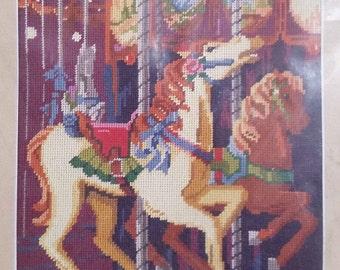 "Vintage CAROUSEL Sunset Needlepoint Kit 6505  Design size 14"" x 11"" - Circus, fair, ride, horse"