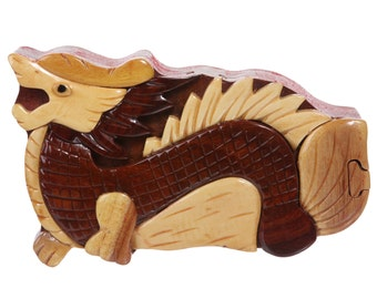 Handcrafted Wooden Animal Shape Secret Jewelry Puzzle Box - Dragon(WH014)
