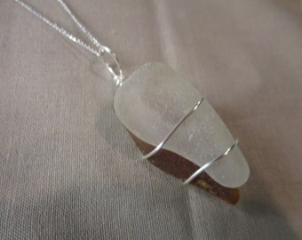 Amber & White Beach Glass Wrap Necklace!