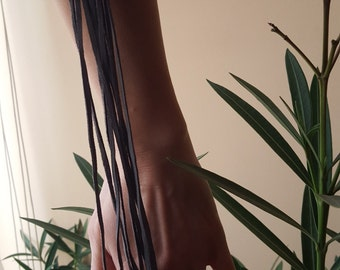 Grey Leather Bracelet with Black Hawaiian Pearl