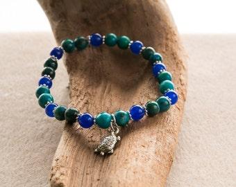 Blue aventurine and chrysolla bracelet