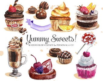 Cupcakes Clipart, Watercolor, Vector Sweets, Cupcakes, Deserts Clipart, Vector Chocolate, Cupcakes Clipart - Commercial Use CU OK