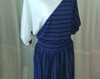 1980s blue & white bat wing dress