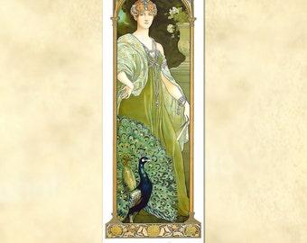 Elisabeth Sonrel – Le Paon; Majeste – (The Majestic Peacock) - Art Nouveau Poster - vintage - antique repro digital download