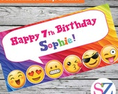 "18""x36"" Emoji Theme Personalized Party Banner Smiley Face Kissy Face"